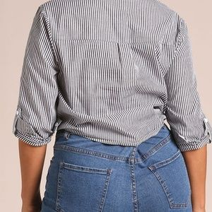 ba31184d7b1 Zenobia Tops - NEW Pinstripe Tie Front Collared Blouse tie front